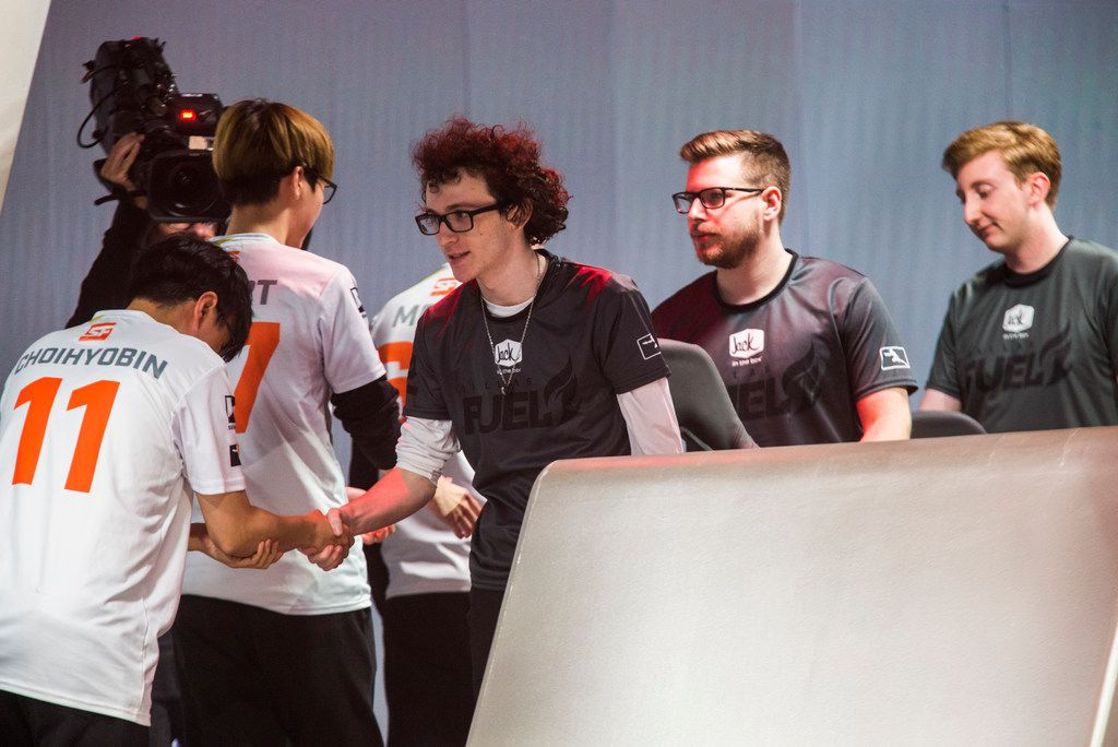 Dallas Fuel players shake hands with San Francisco Shock players after the Fuel lost 4-0 in an Overwatch League match on Sunday, August 11, 2019 at Blizzard Arena in Burbank, California. (Ashley Landis/The Dallas Morning News)