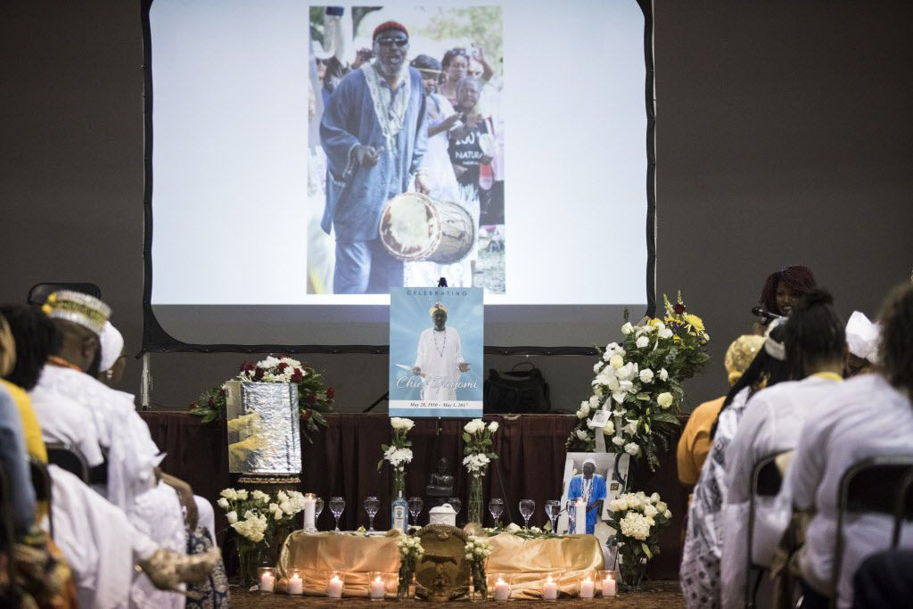 An alter is erected for Arthur Riggins, also affectionately known as Baba and Chief Ifayomi by the community, during his memorial service May 19, 2017, at the Frederick Douglass Community Center in Dallas, Texas. Riggins was a community leader that was killed by his godson in an incident that also injured a neighbor and a Dallas firefighter-paramedic in May. (Andrew Buckley/Special Contributor)