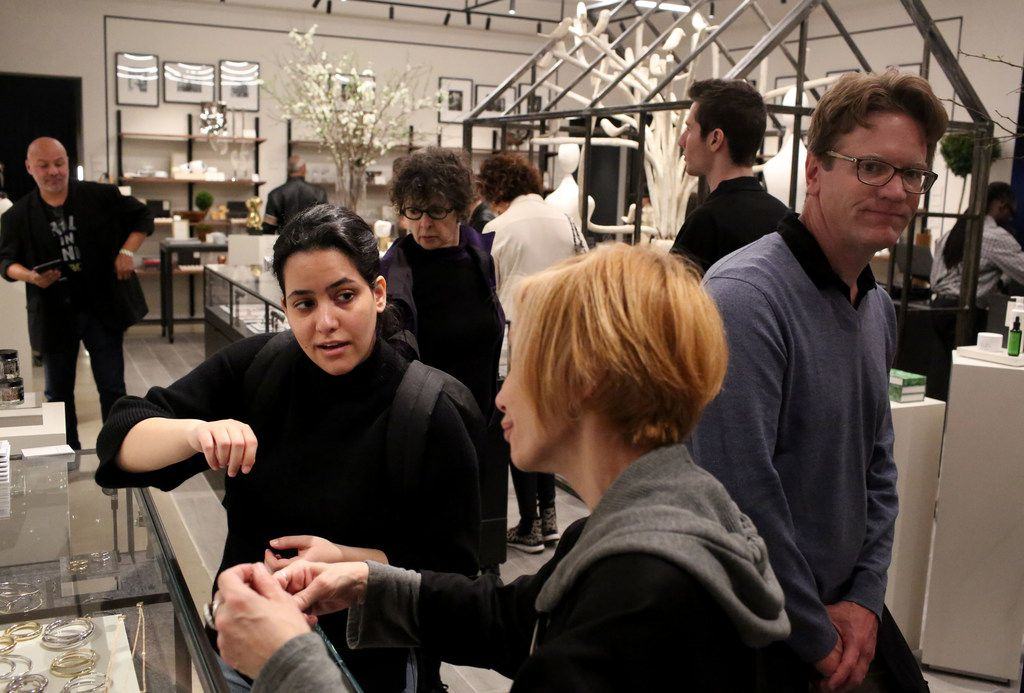 Shoppers gather inside  The Conservatory at the opening of Hudson Yards.