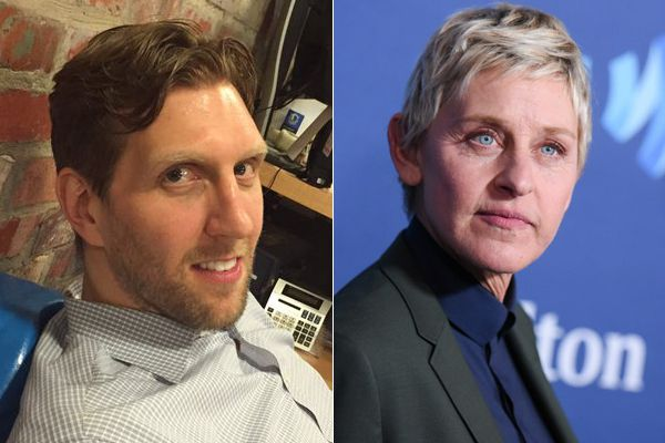 Does Dirk Nowitzki (left) look like Ellen DeGeneres (right) with his new haircut? The Dallas Mavericks apparently think so.