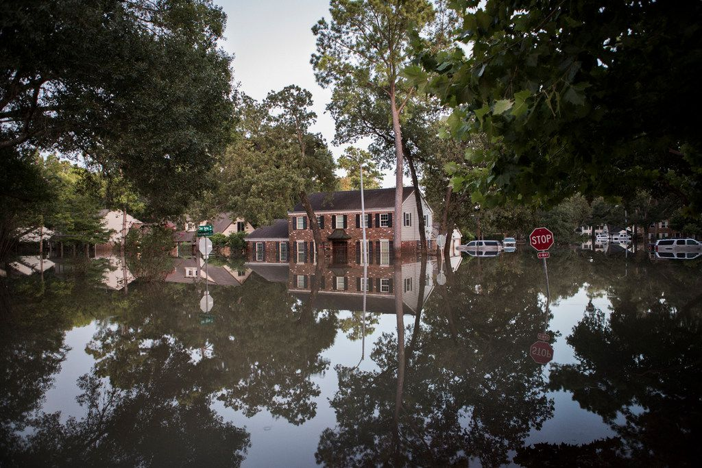 Floodwaters from Hurricane Harvey rose in Houston's Nottingham Forest section in the days after the storm hit. (Daniel Borris/The New York Times)