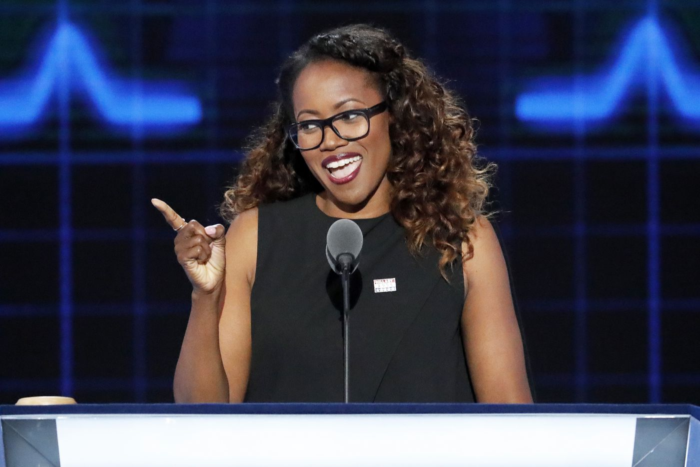Actress Erika Alexander speaks during the second day of the Democratic National Convention.