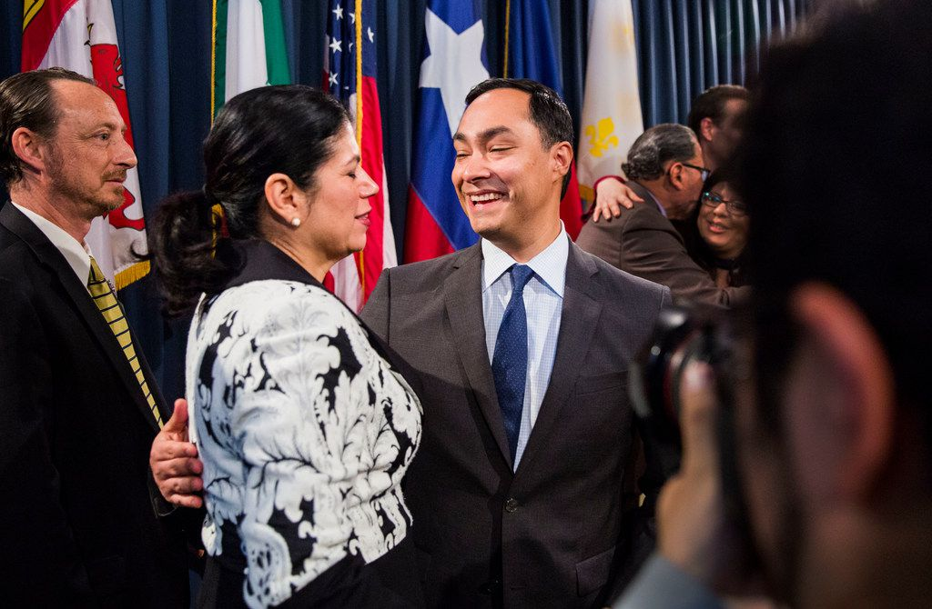Texas State Senator Carol Alvarado, second from left, greets U.S. Congressman Joaquin Castro after a press conference held by the Texas Senate Democratic Caucus regarding S.R. 535 at the Texas Capitol in Austin, Texas on April 17, 2019. Texas Senate Resolution 535 was passed on April 2.