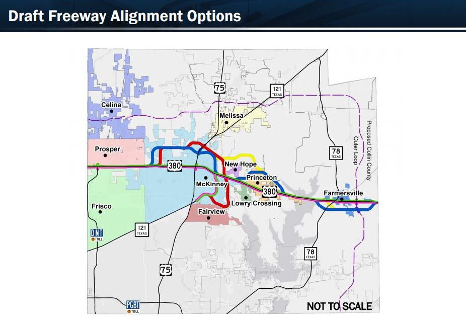 The Texas Department of Transportation's feasibility study for relieving traffic congestion along U.S. Highway 380 included five routes for a possible freeway. (Texas Department of Transportation)