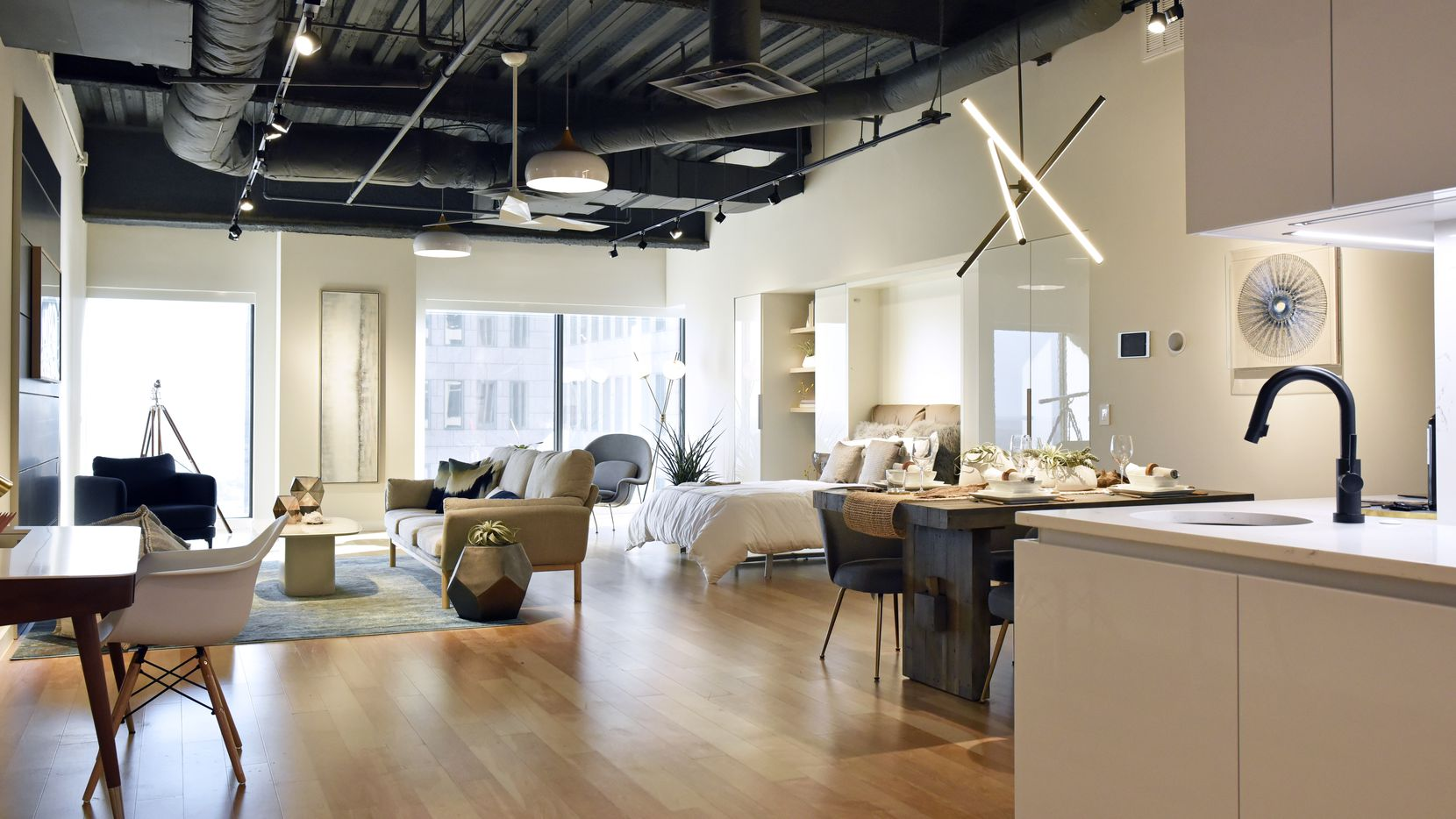 Bluelofts' model downtown Dallas apartment is about 900 square feet.