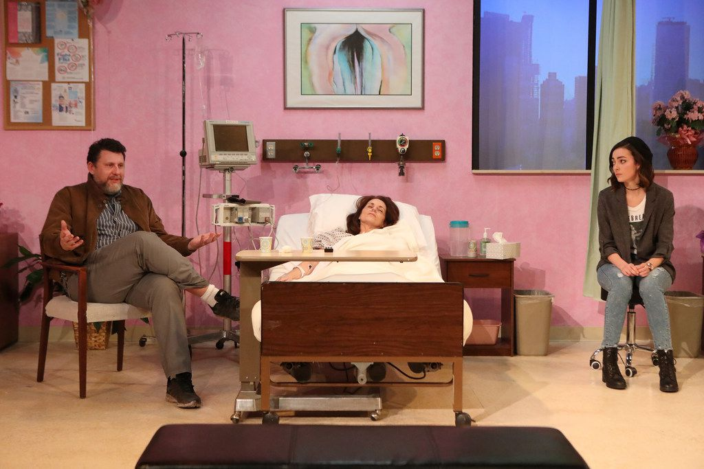 Thomas Ward, left, Shannon McGrann, center, and Janielle Kastner in the regional premiere of Halley Feiffer's 'A Funny Thing Happened on the Way to the Gynecologic Oncology Unit at Memorial Sloan Kettering Cancer Center of New York City' at Stage West Theatre in Fort Worth.