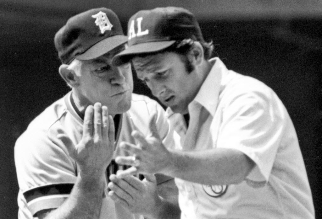 ORG XMIT: NY184 FILE - In this June 22, 1980 file photo, Detroit Tigers manager Sparky Anderson, left, argues with first base umpire Steve Palermo on a disputed triple-play call during a baseball game against the Chicago White Sox in Chicago.  Anderson, the Hall of Fame manager, died Thursday, Nov. 4, 2010 in Thousand Oaks, Calif. He was 76. (AP Photo/Larry E. Stoddard, File)