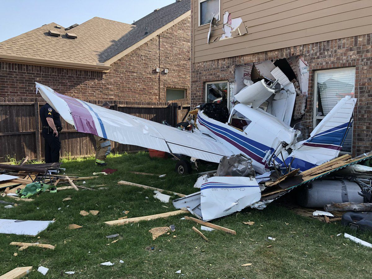 A small, two-seat airplane crashed into a house in the 200 block of Black Bear Drive in McKinney on Thursday. Two people on board the plane were injured.