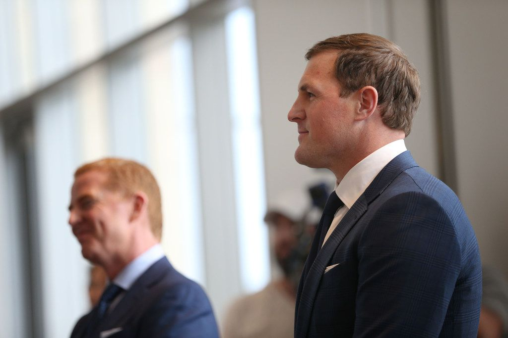 Dallas Cowboys tight end Jason Witten watches a tribute video of himself alongside head coach Jason Garrett during a news conference where Witten announced his retirement from the NFL at The Star in Frisco, Texas on Thursday, May 3, 2018. (Rose Baca/The Dallas Morning News)