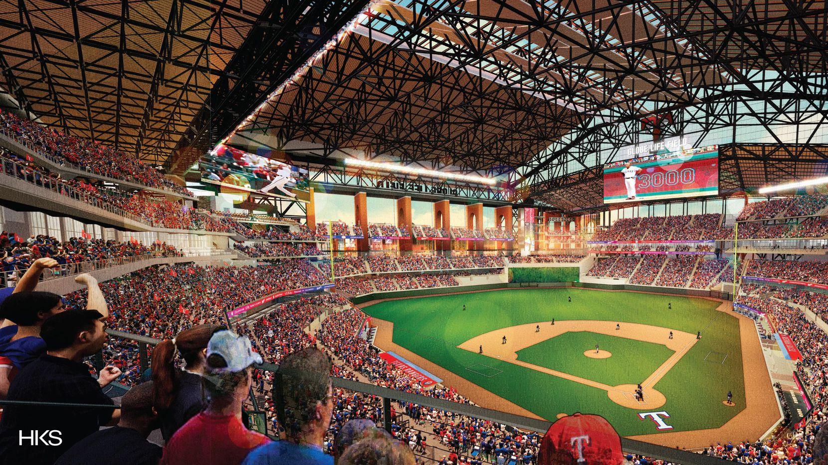 Una representación artística del proyectado nuevo estadio de beisbol de los Rangers de Texas.(CORTESIA)