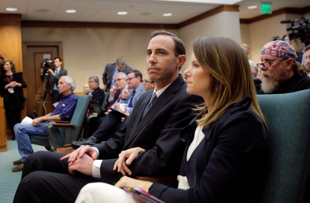 Interim Secretary of State David Whitley waited with his wife of nine years, Megan, to testify before the Senate Nominations Committee on Feb. 7. Democrats and even two Republicans were critical of his office's actions surrounding a bid to find noncitizen voters on voter rolls.