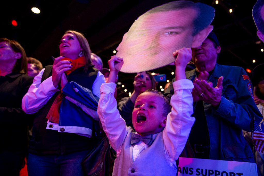 Ayden Kirby 7, Ft. Worth Senator, cheers as Senator Ted Cruz campaigns at Cendera Center in Fort Worth on Friday, November 2, 2018. (Shaban Athuman/The Dallas Morning News)