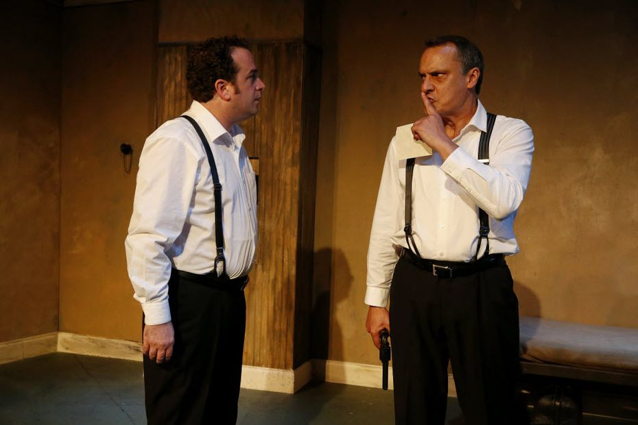 """Kitchen Dog Theater company members Michael Federico (left), playing Gus, and co-artistic director Christopher Carlos, playing Ben, performed in the theater's 2015 season opener, """"The Dumb Waiter"""" at the company's now-closed temporary home, The Green Zone in Dallas. (File Photo/Andy Jacobsohn)"""