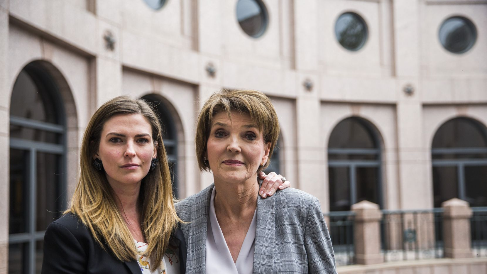 Eve Wiley (left) and her mother, Margo Williams, poses for a portrait after testifying before the Senate Criminal Justice Committee on Wednesday, April 3, 2019 at the Texas state capitol extension in Austin. Wiley was conceived through artificial insemination. Through genetic testing in 2018, she discovered that the sperm donor her mother chose was not her father. Rather, she says the doctor who performed the artificial insemination procedure is her father. They, with Texas Senator Joan Huffman, are trying to pass SB 1259, which would make it a state jail felony for a health care provider to implant human reproductive material from an unauthorized source without consent of the patient.