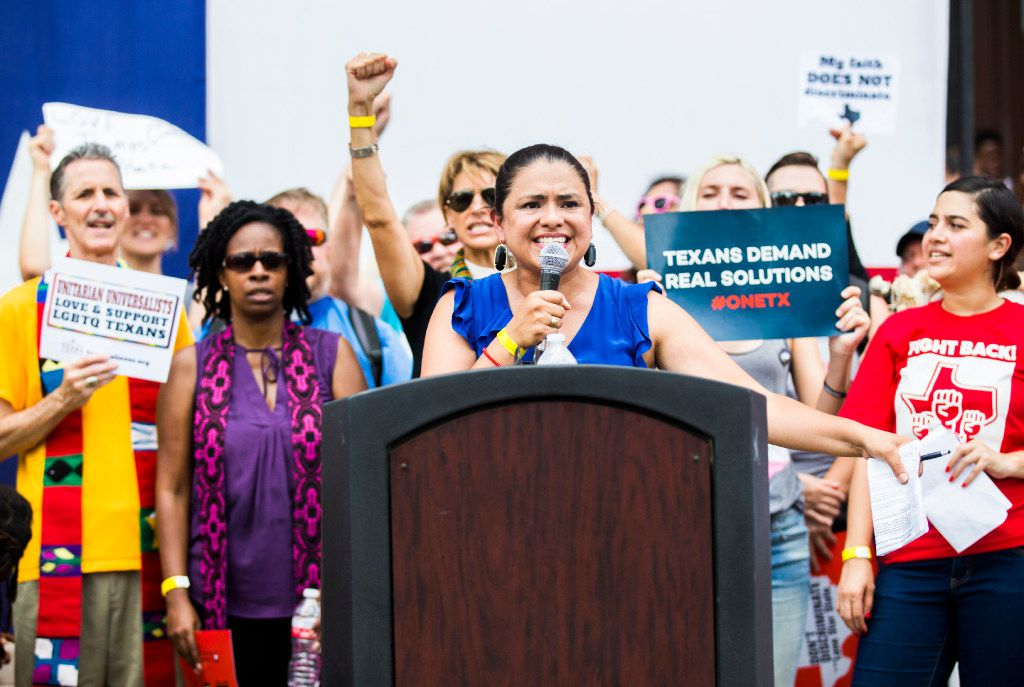 Montserrat Garibay, vice president of Education Austin, speaks during a One Texas Resistance rally at the steps of the capitol on the first day of a legislative special session on Tuesday, July 18, 2017 at the Texas state capitol in Austin, Texas. (Ashley Landis/The Dallas Morning News)