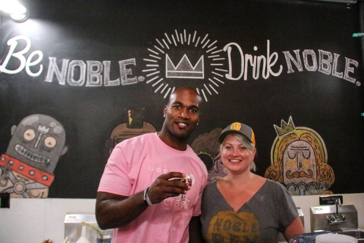 Bradie James posed with Michelle Carrow at Noble Rey Brewing Co. during the inaugural Brew Crawl for Breast Cancer on Saturday in Dallas. The event benefited James' Foundation 56 breast cancer nonprofit.