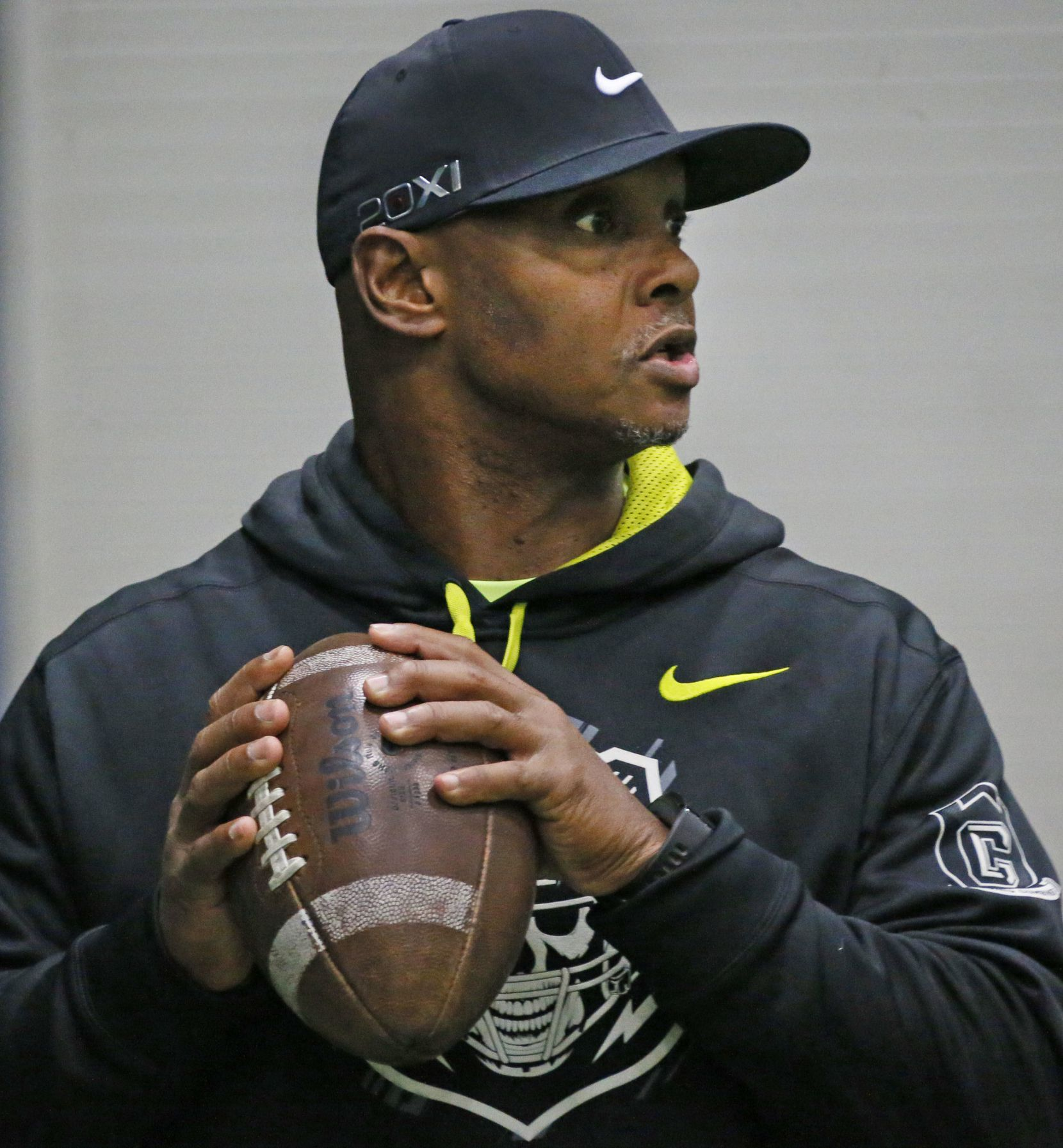 Former Texas A&M quarterback Kevin Murray is pictured as he works as a quarterbacks coach at Plano West High School in Plano.