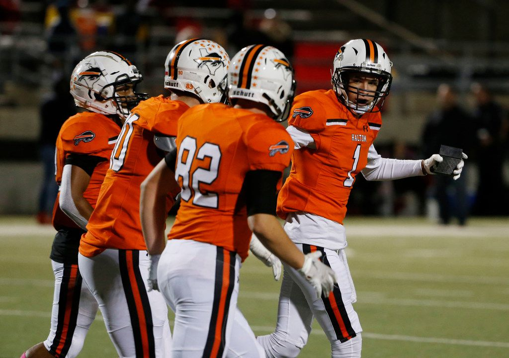 Haltom kicker Hunter Villavicencio (1) celebrates a field goal with Jared Beene (82) against Euless Trinity during the first half of their high school football game on Oct. 11, 2019 in North Richland Hills. (Michael Ainsworth/Special Contributor)