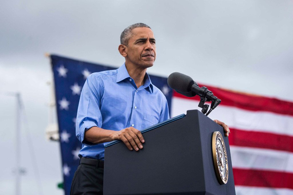 President Barack Obama speaks at a campaign event for Hillary Clinton at Osceola County Stadium in Kissimmee, Fla., Nov. 6, 2016.