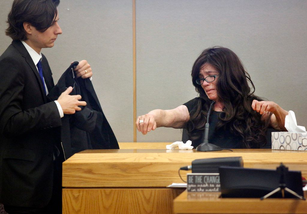 With the assistance of Dallas County assistant district attorney Max Ternosky, burn victim Danyeil Townzen removed her jacket and showed her scars during her emotional testimony about how Matthew Gerth set her on fire. The former boyfriend earlier plead guilty to aggravated assault with a deadly weapon and serious bodily injury for the 2018 crime in the 283rd District Court at the Frank Crowley courthouse in downtown Dallas, Friday, September 13, 2019.