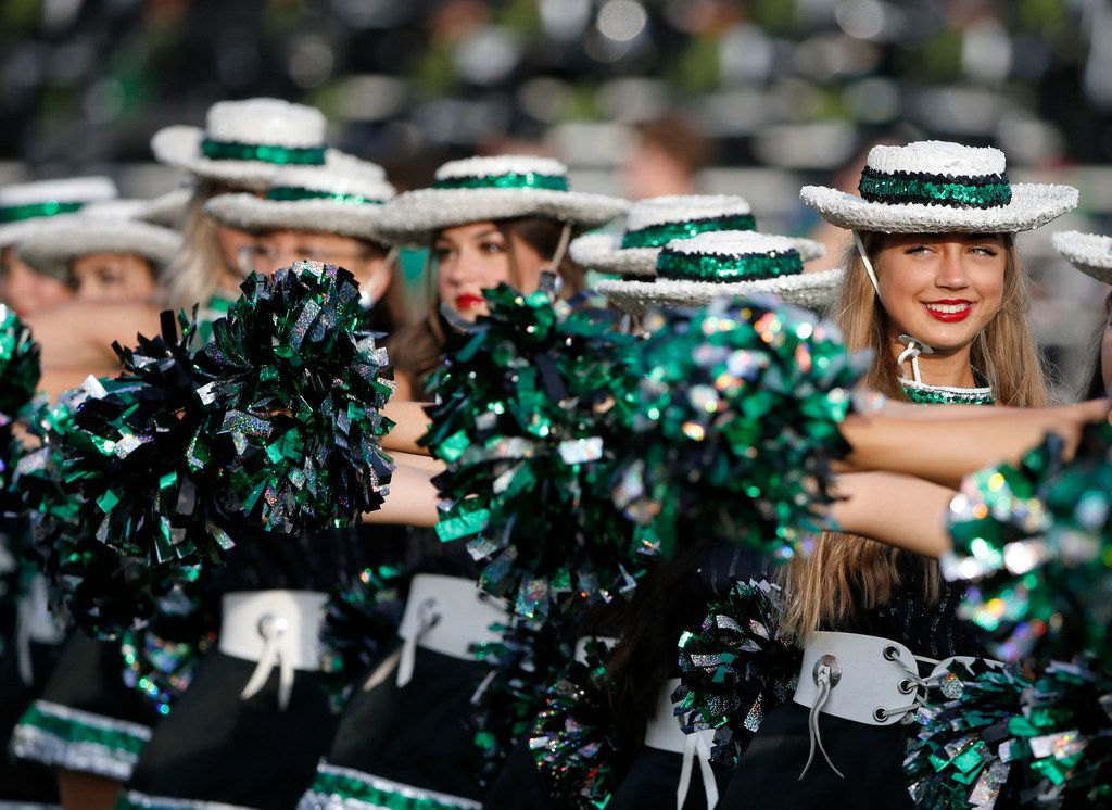 Southlake Emerald Belles drill team members  line up prior to their high school football game against South Grand Praire in Southlake Texas on August 30, 2019. (Michael Ainsworth/Special Contributor)