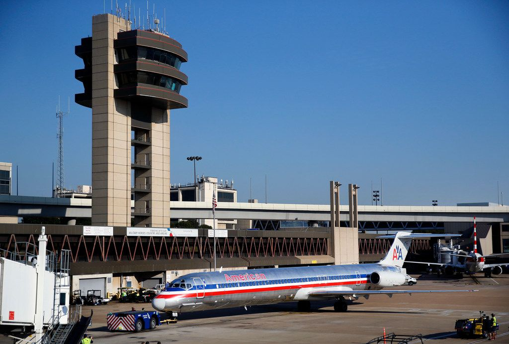 The final American Airlines MD-80 revenue flight is pushed away from the Concourse C gate at Dallas-Fort Worth International Airport bound for Chicago, Wednesday, September 4, 2019.