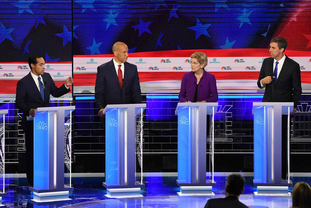 Texas presidential hopefuls Beto O'Rourke (right) and Julián Castro (left) continue to rely on their home state for financial support. But other Democratic contenders are also making headway, particularly among high-dollar donors. Also pictured are Massachusetts Sen. Elizabeth Warren and New Jersey Sen. Cory Booker.