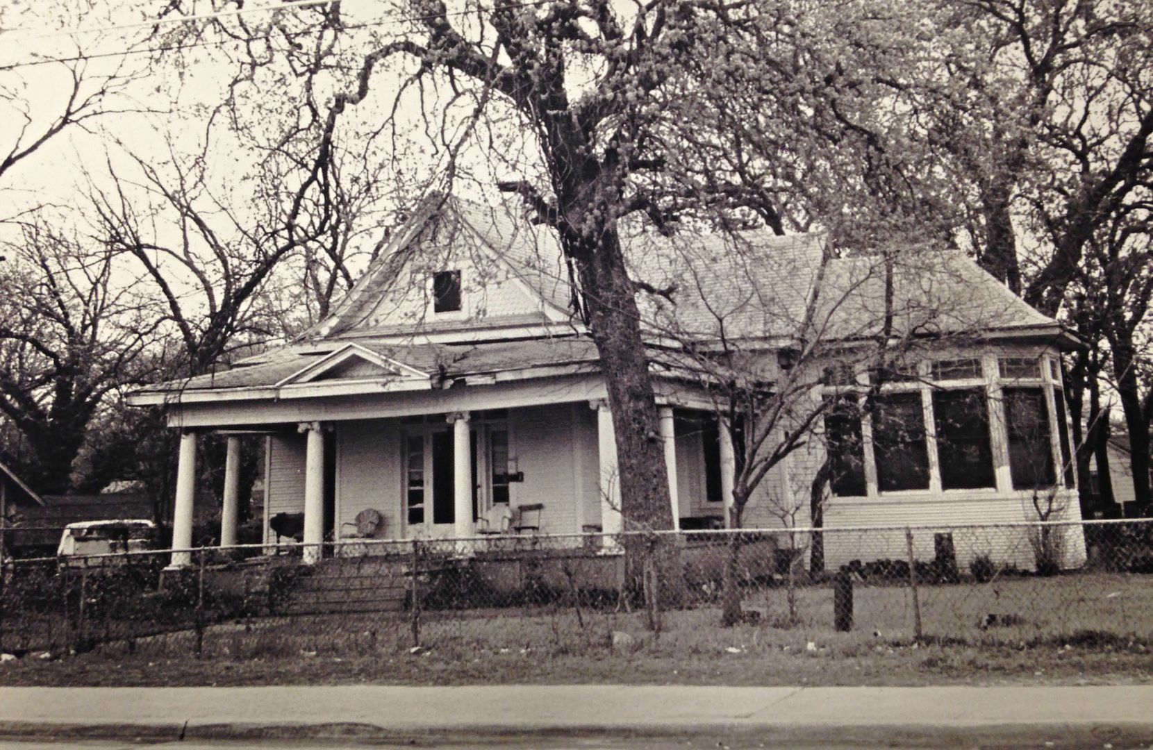 An undated photo of 2426 Pine St. in South Dallas, which no longer exists except as a towering of charred lumber