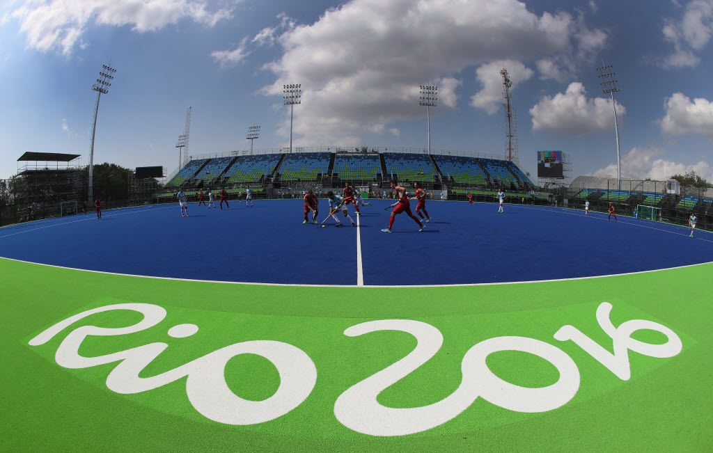 Players from Belgium and Agentina take part in a pre Olympic hockey warm up match at the Deodora Olympic hockey centre during the build up to the Rio Olympic Games on August 2, 2016 in Rio de Janeiro, Brazil.