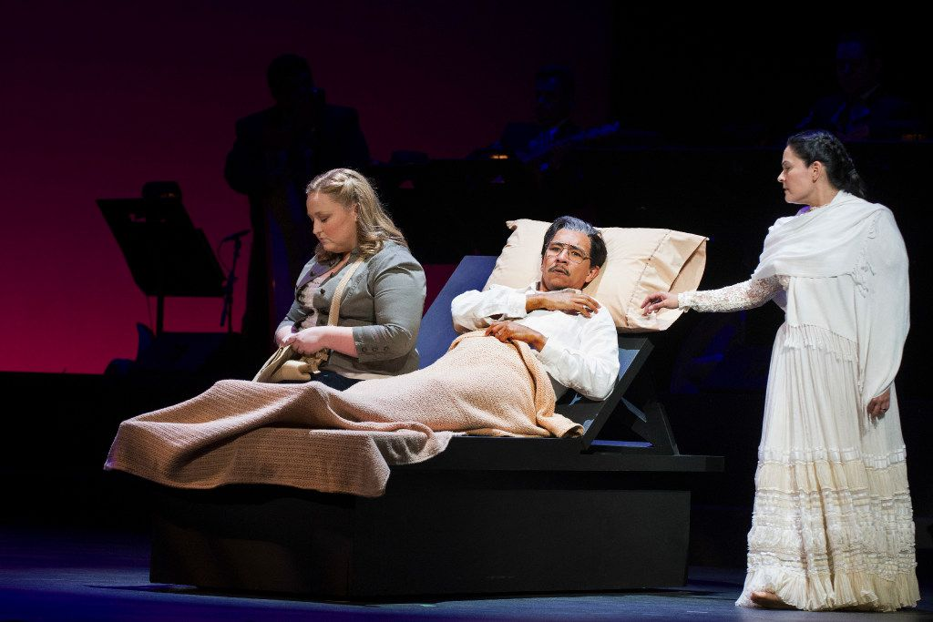 "Brittany Wheeler, left, in the role of Diana, Octavio Moreno in the role of Laurentino and Cecilia Duarte in the role of Renata perform a scene during the Fort Worth Opera's dress rehearsal of ""Cruzar la cara de la luna"" on April 28, 2017 at Bass Performance Hall in Fort Worth, Texas. (Robert W. Hart/Special Contributor)"