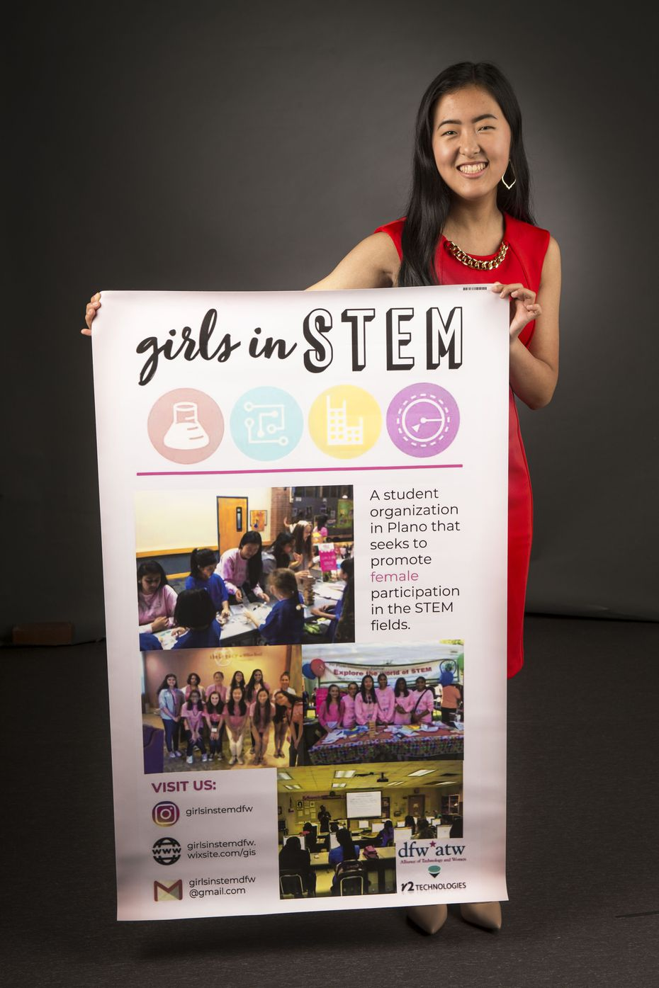 Alice Hou, founder of Girls in STEM, poses for a photograph at The Dallas Morning News on July 24, 2018.