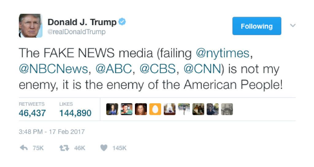 A Feb. 17 tweet from @realDonaldTrump about the fake news media being an enemy of the American people