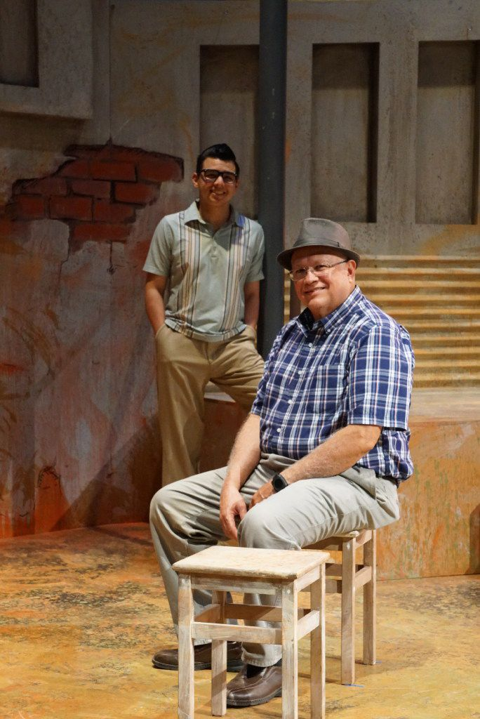 "Actor Chris Ramirez (left) plays Mario Trevino (right) in ""Crystal City 1969"" for Cara Mia Theatre at the Latino Cultural Center in Dallas, Texas."