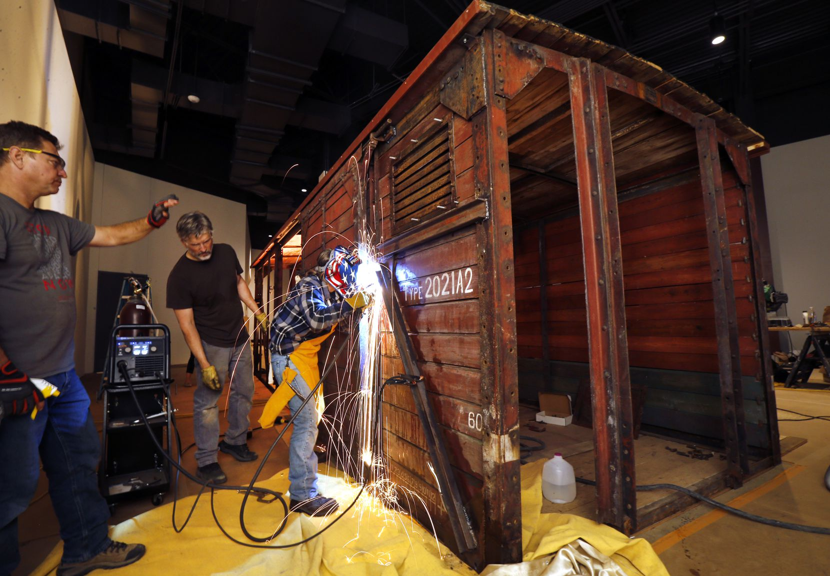Ron Siebler and his restoration team expect to complete the boxcar's installation at the new West End museum this week.