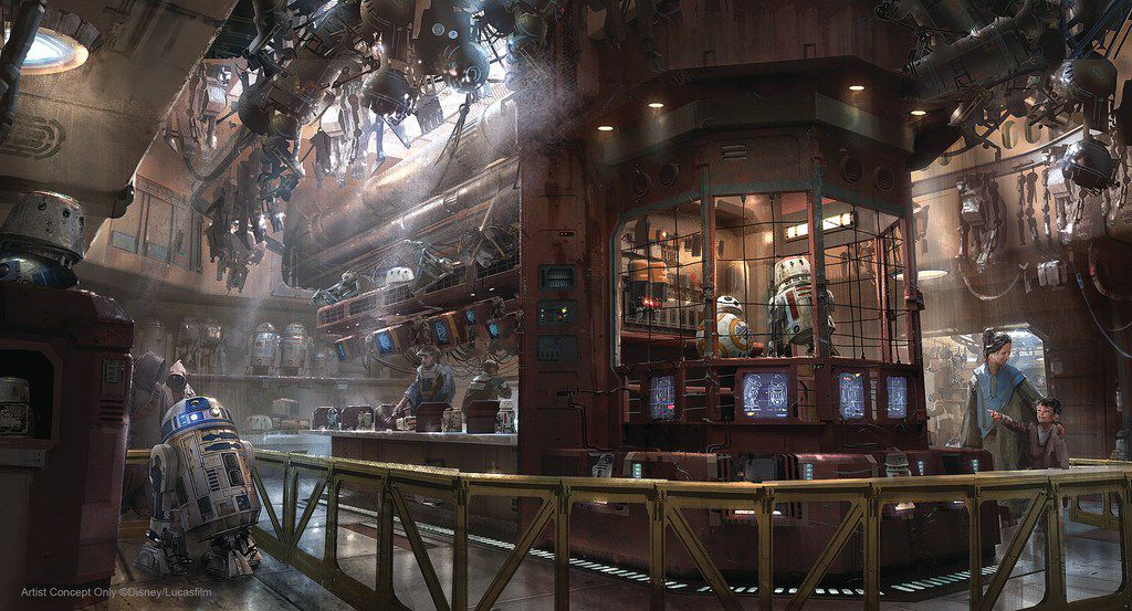 Visitors to Star Wars: Galaxy's Edge will be able to visit shops selling personal droids, lightsabers, and Star Wars-appropriate food and drink.
