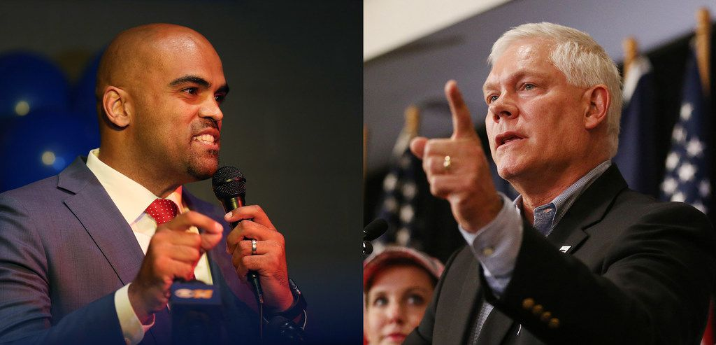 Left: Colin Allred spoke to supporters during an election night party at Ozona Grill and Bar in Dallas on May 22, 2018. Right: U.S. Rep. Pete Sessions spoke at a campaign kickoff event at The Highland Dallas hotel in Dallas on June 23, 2018.