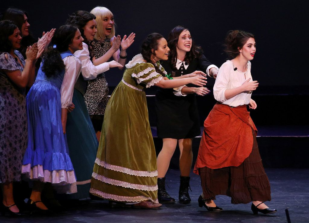 Sierra Roberson, of Frenship High School, which is in Wolfforth, Texas, upon learning that she won Best Leading Actress during the 7th annual Dallas Summer Musicals High School Musical Theatre Awards at the Music Hall at Fair Park in Dallas on May 17, 2018.