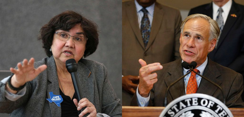 COMPOSITE PHOTO. PHOTO ON LEFT, Democratic gubernatorial candidate Lupe Valdez speaks during a meeting with the editorial board at The Dallas Morning News office in Dallas on Wednesday, Jan. 31, 2018. PHOTO ON RIGHT, Gov. Greg Abbott unveils his plan to enhance school safety during a press conference at Dallas ISD headquarters in Dallas on Wednesday, May 30, 2018.