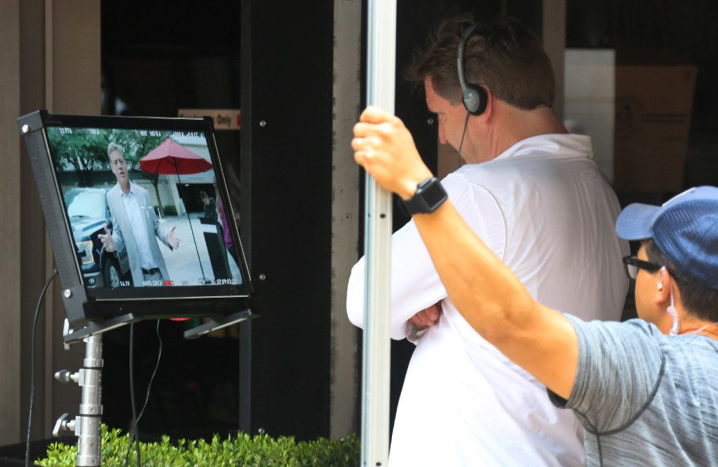The crew watched a live feed of video as Troy Aikman, this year's campaign chairman for United Way of Metropolitan Dallas, filmed a public service announcement at Victory Tavern on Aug. 7.