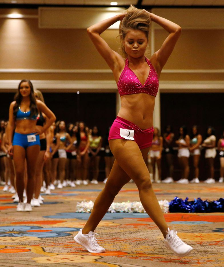 Elaney Dominguez of San Antonio dances during the first day of the Dallas Mavericks Dancers auditions at the Hilton Anatole in Dallas on Saturday, July 15, 2017.