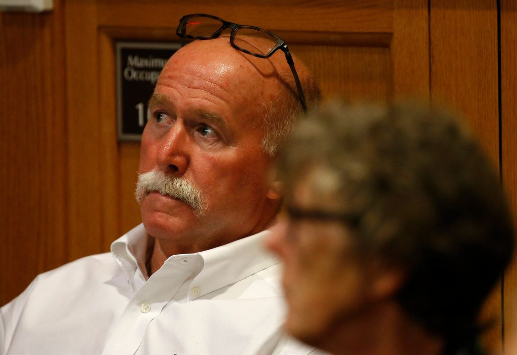 Gary Bardwell (left) and Carla Bardwell, parents of Jessie Bardwell, attend the trial in their daughter's death at the Collin County Courthouse in McKinney, Texas, Monday, Sept. 18, 2017.