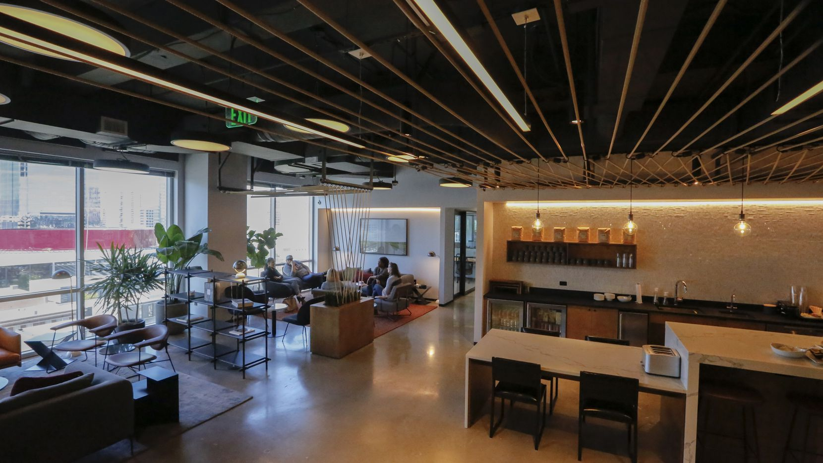 A view of  the common area at the Industrious co-working office, on the ninth floor of One Arts Plaza in downtown Dallas.