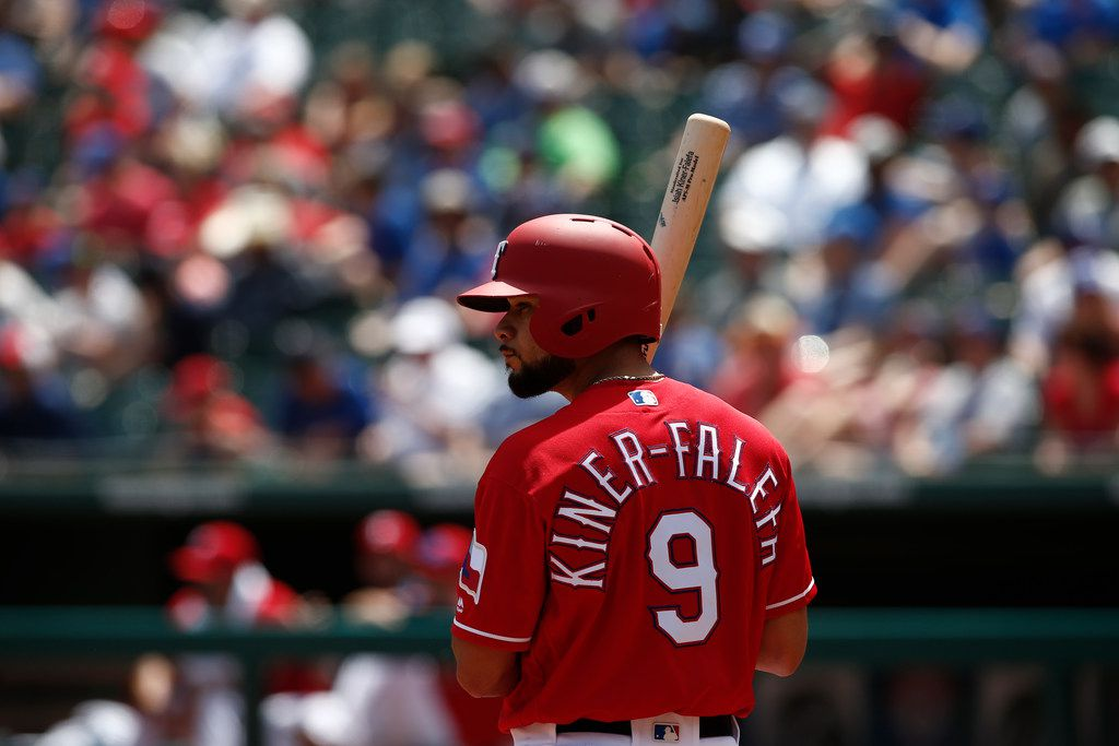 Texas Rangers' Isiah Kiner-Falefa (9) prepares to bat against the Detroit Tigers during a baseball game Wednesday, May 9, 2018, in Arlington, Texas. (AP Photo/Mike Stone)