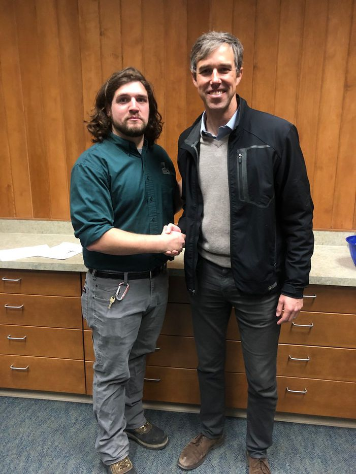Beto O'Rourke and Brandon Smith, a student at Mesalands Community College, during a visit to the college in Tucumcari, N.M., on Jan. 15, 2019. Photo courtesy Brandon Smith.