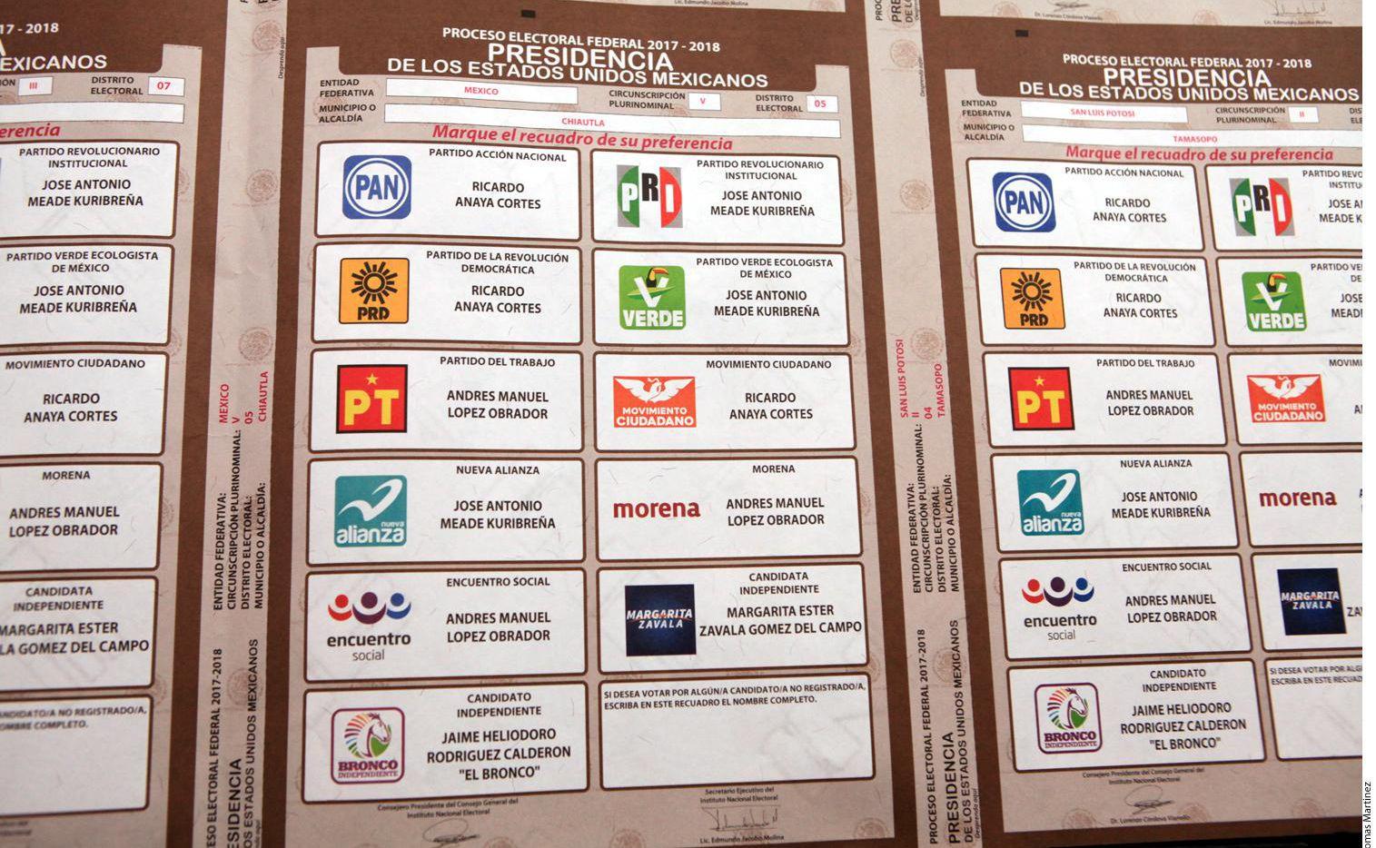 Muestra de las boletas que el Instituto Nacional Electoral empezó a imprimir de cara a la elección presidencial del 1 de julio.(AGENCIA REFORMA)