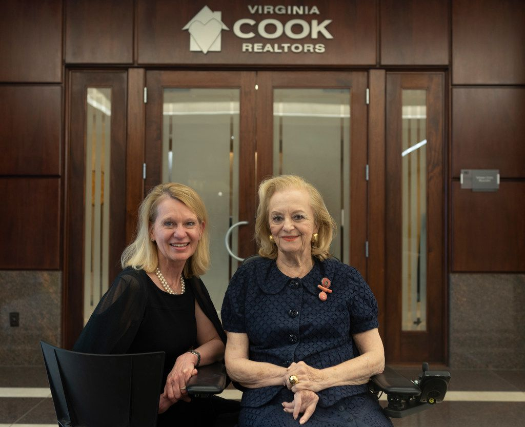 Sherri Wilson (left), vice president and manager of the Park Cities office of Virginia Cook Realtors, posed with company co-founder Virginia Cook in July.