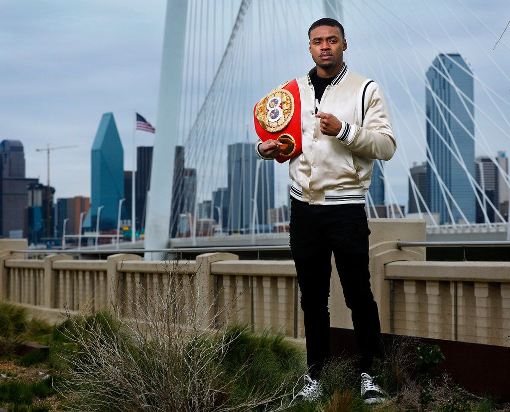 Dallas boxer Errol Spence Jr. poses for a photo with his belt on the Continental Bridge in Dallas, Monday, March 4, 2019. Welterweight World Champion Errol Spence Jr. defends his IBF 147-pound title against four-division World Champion and current WBC Lightweight titleholder Mikey Garcia at AT&T Stadium. (Tom Fox/The Dallas Morning News)