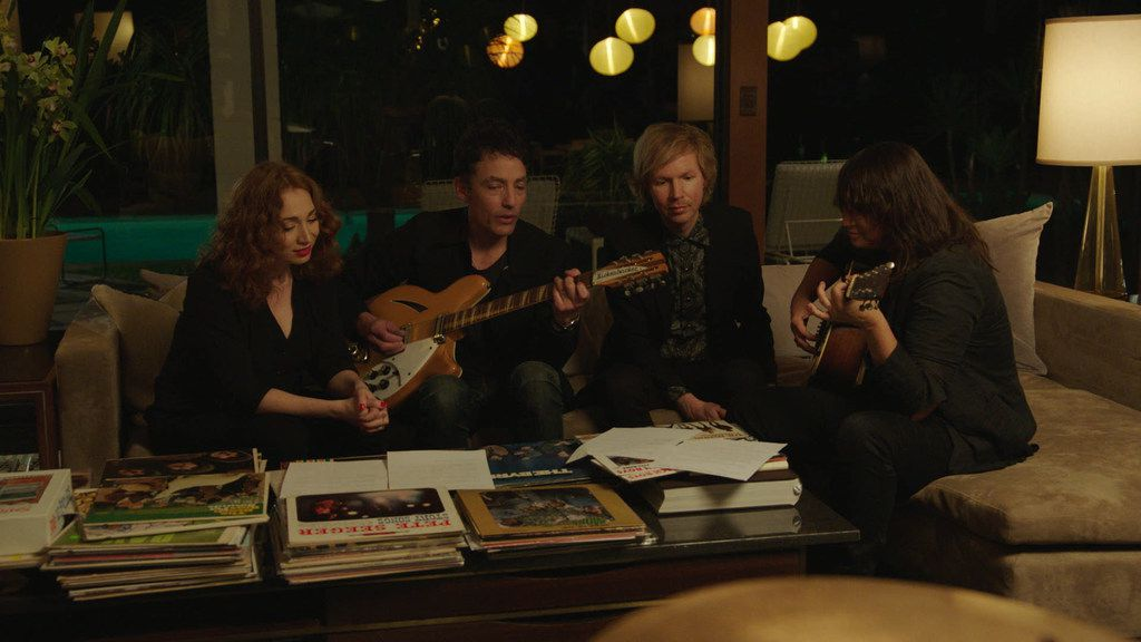 From left: Regina Spektor, Jakob Dylan, Beck and Cat Power in a scene from Echo in the Canyon.