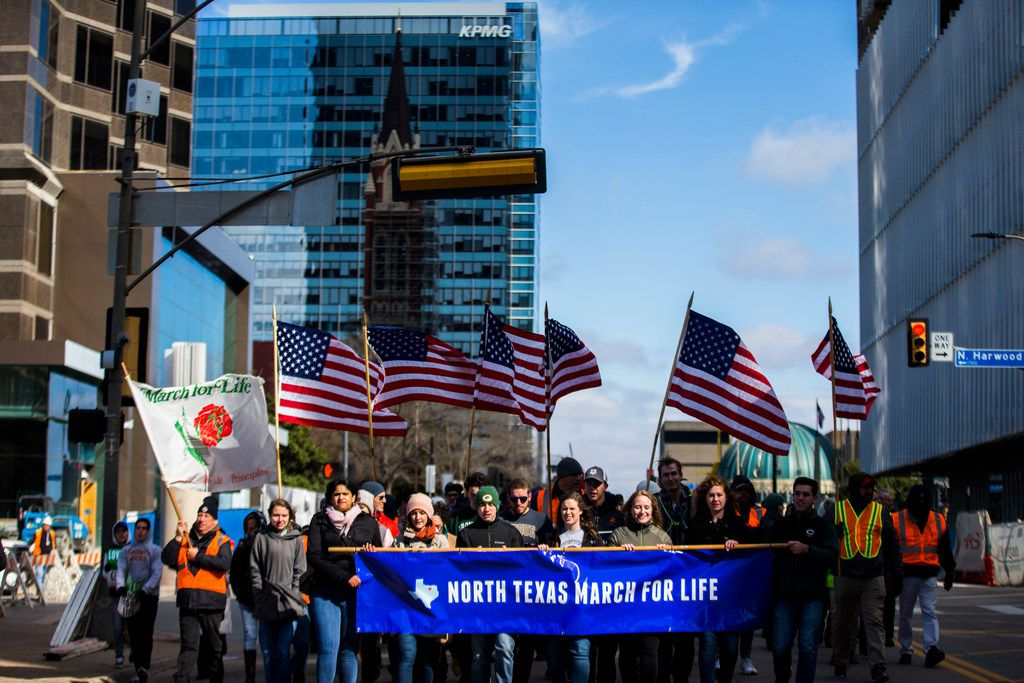 Demonstrators march from Cathedral Shrine of the Virgin of Guadalupe to Earle Cabell Federal Building during the North Texas March for Life on Saturday, Jan. 19, 2019, in downtown Dallas.