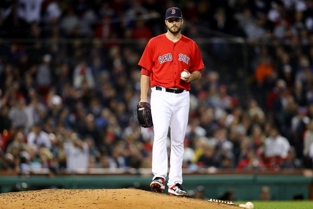 BOSTON, MA - SEPTEMBER 28: Drew Pomeranz #31 of the Boston Red Sox reacts after Luke Voit #45 of the New York Yankees hit a home run during the seventh inning at Fenway Park on September 28, 2018 in Boston, Massachusetts. (Photo by Maddie Meyer/Getty Images)